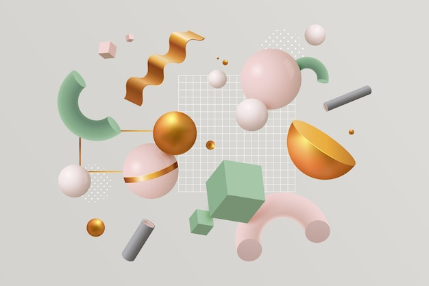 Variety of colourful geometric shapes and cluster of tiny squares Free Vector