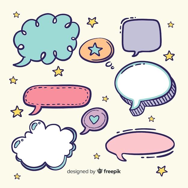 Varietà di forme colorate bolle di discorso con espressioni Vettore gratuito