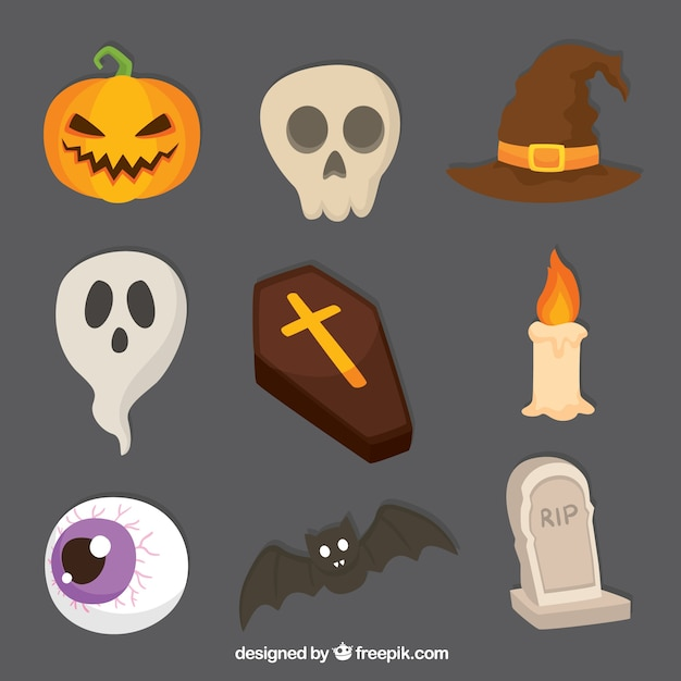 Variety of creepy items for halloween Free Vector