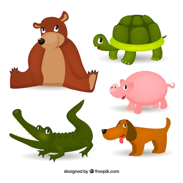 Variety of cute animals with childish style Free Vector