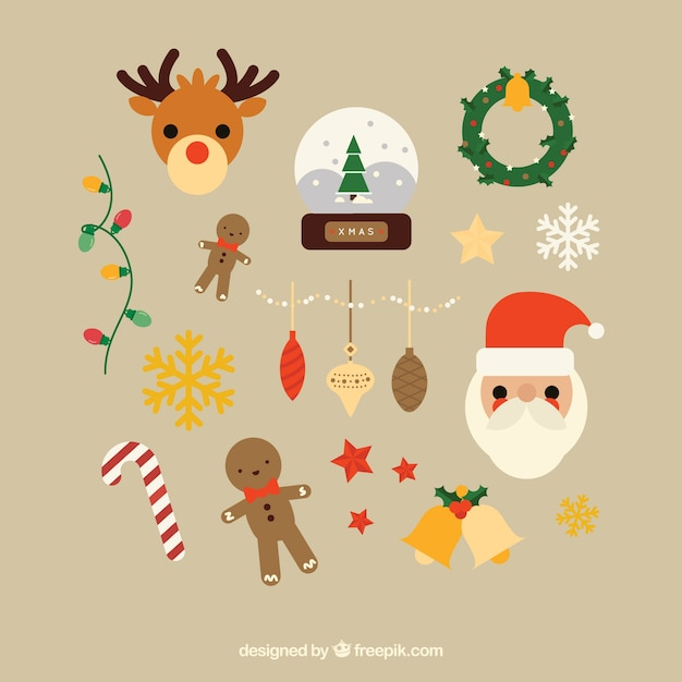 Christmas Items.Variety Of Cute Christmas Items Vector Free Download