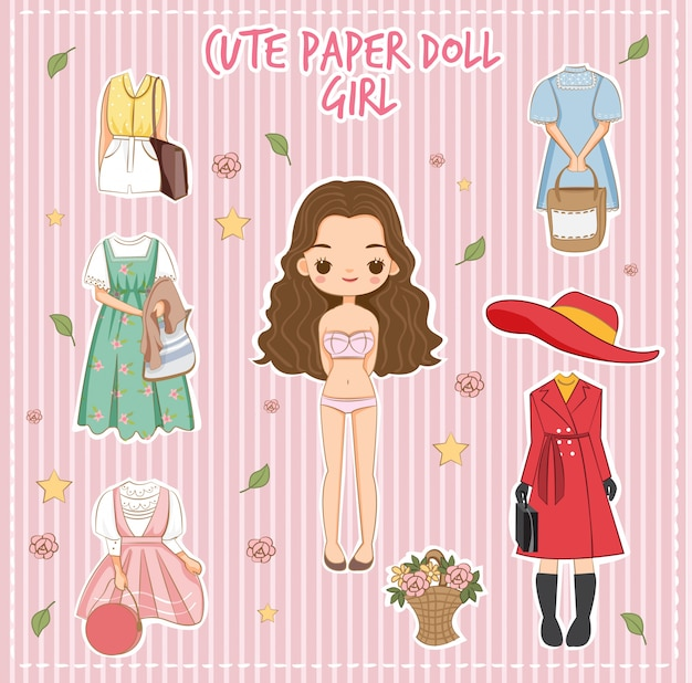 Variety cute dress for paper doll girl vector Premium Vector