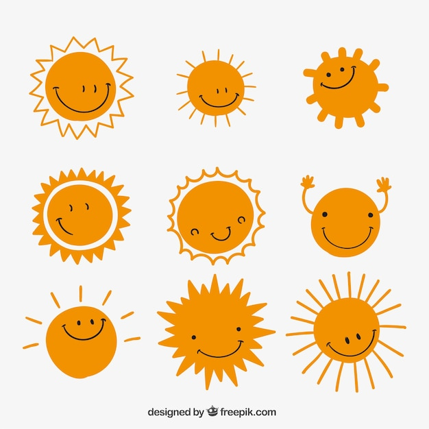 Variety of cute suns Free Vector