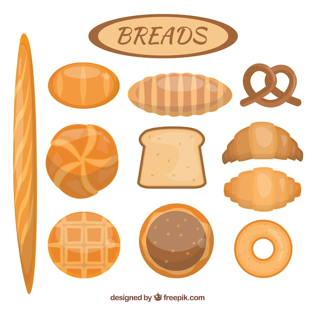 Variety of delicious breads Free Vector
