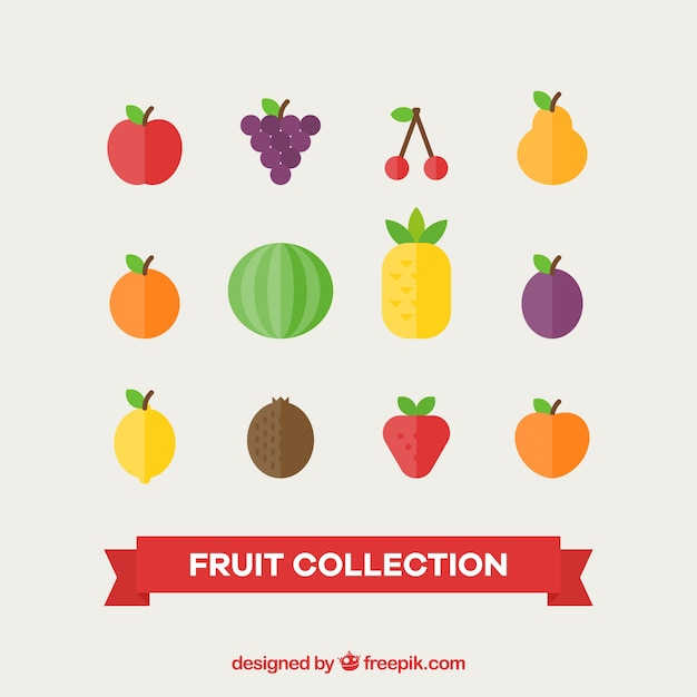 Varietà di frutti deliziosi nel design piatto Vettore gratuito