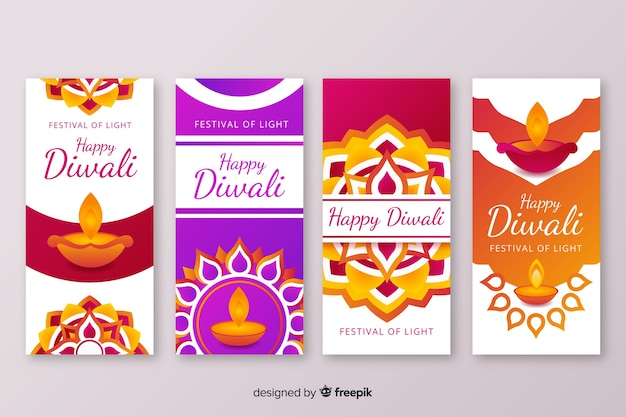 Variety of designs for diwali instagram stories Free Vector