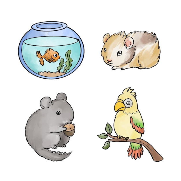 Variety of different pets Free Vector