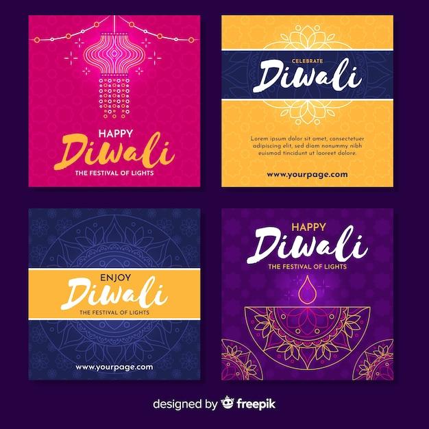 Variety of diwali instagram stories Free Vector