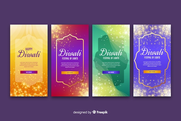 Variety of diwali instagram stories Free Vector