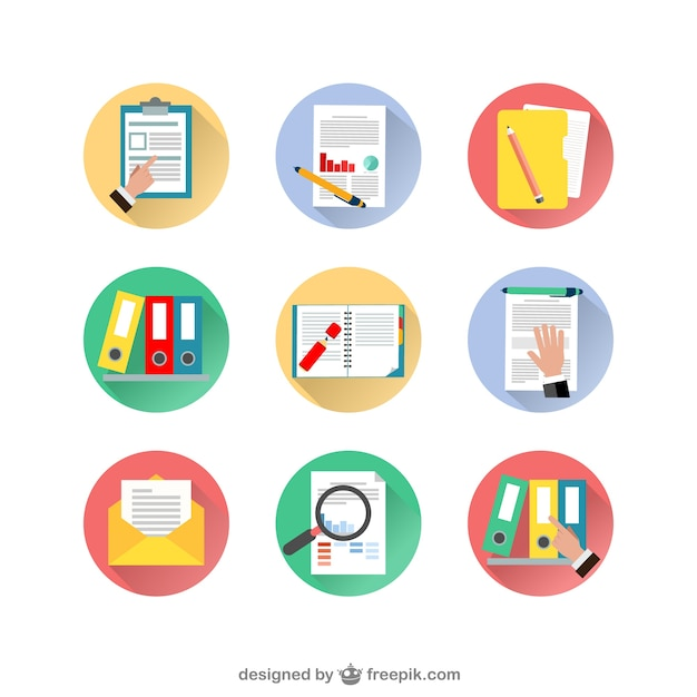 Variety of document icons Free Vector