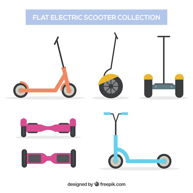 Variety of electric scooters with flat design Free Vector