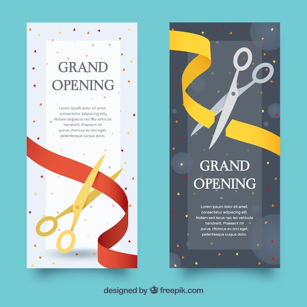 Variety of elegant inauguration banners Free Vector