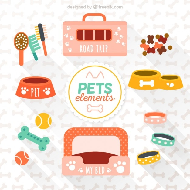 Variety elements of pets Premium Vector