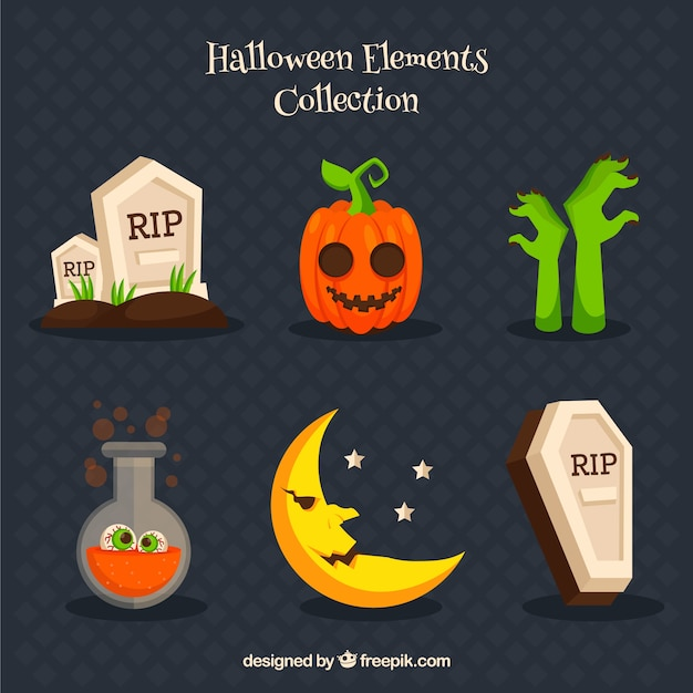 Variety of elements related to halloween Free Vector