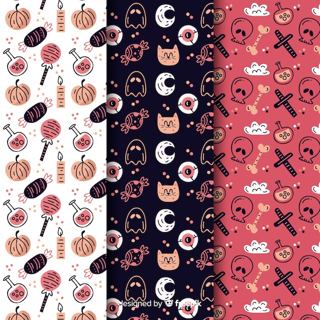 Variety of elements with cat and skull seamless pattern Free Vector