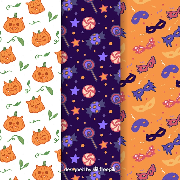 Variety of elements with pumpkin and masks seamless pattern Free Vector