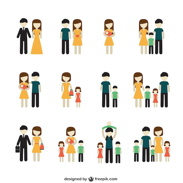 Variety of family icons Free Vector