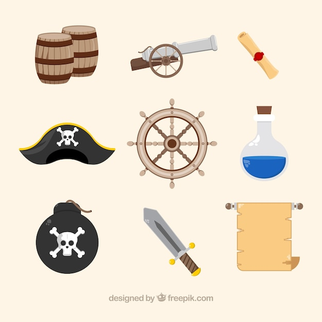 Variety of fantastic pirate items Free Vector