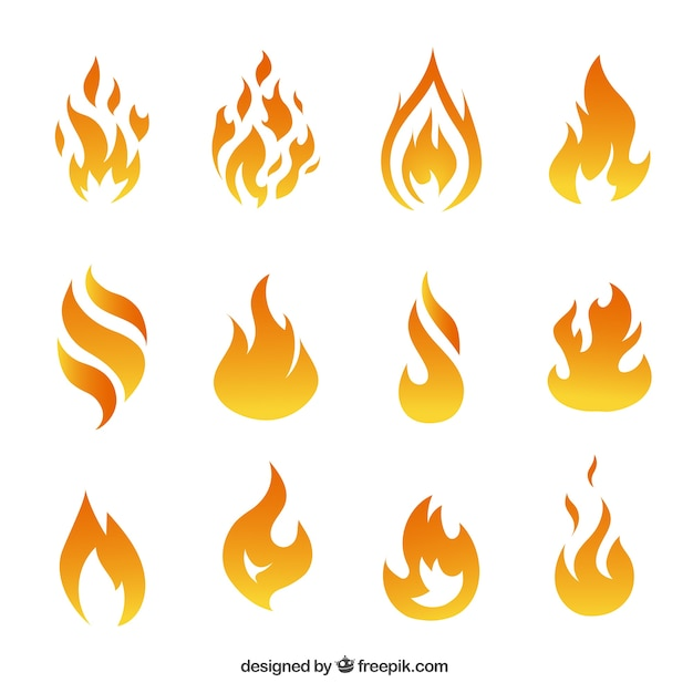 Variety of fire flames Premium Vector
