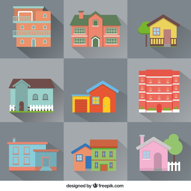 Variety of flat houses Free Vector