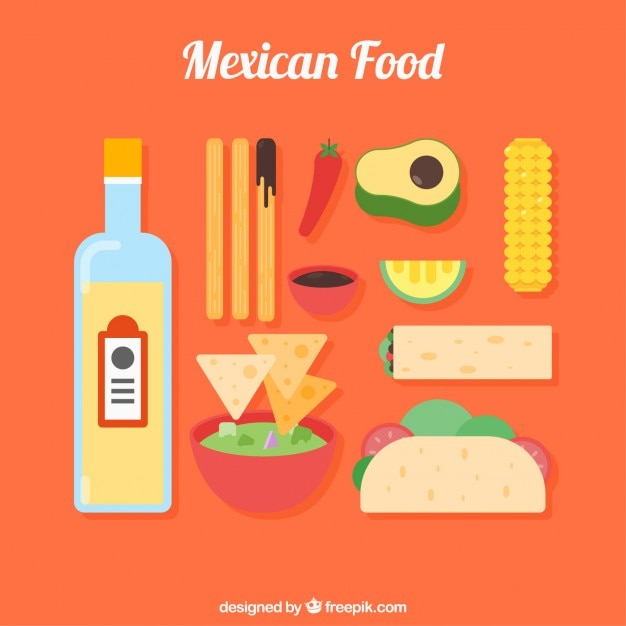 Variety of flat mexican food and products Free Vector