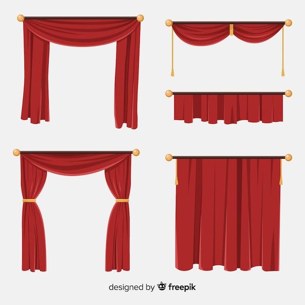 Varietà di collezione di tende rosse piatte Vettore gratuito