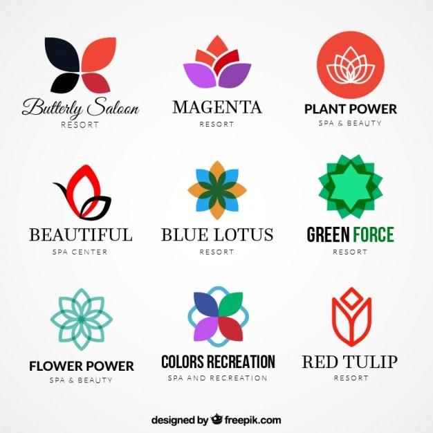 Variety of floral logos Free Vector