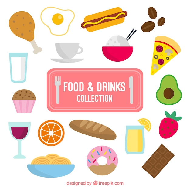 Variety food and drinks in flat design Free Vector
