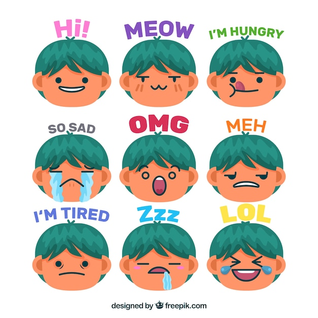 Variety of funny boy stickers Free Vector