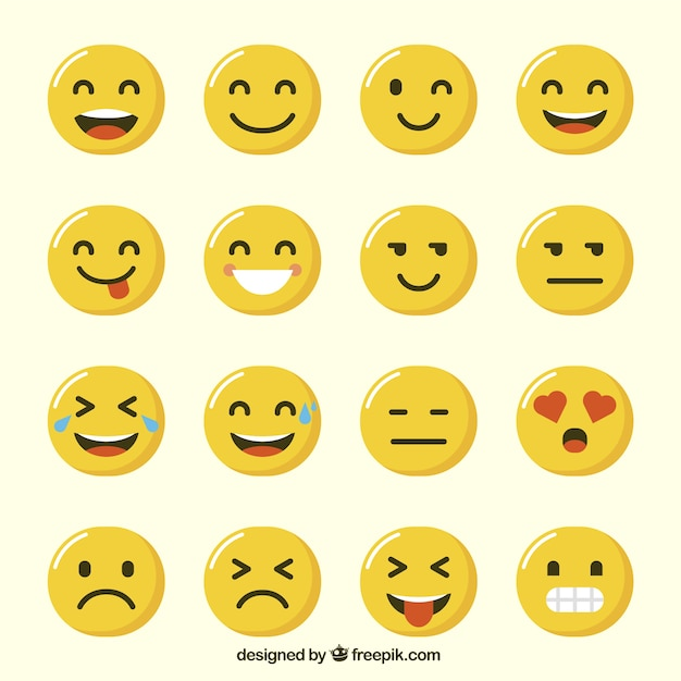 Variety of funny emoji in flat design Free Vector