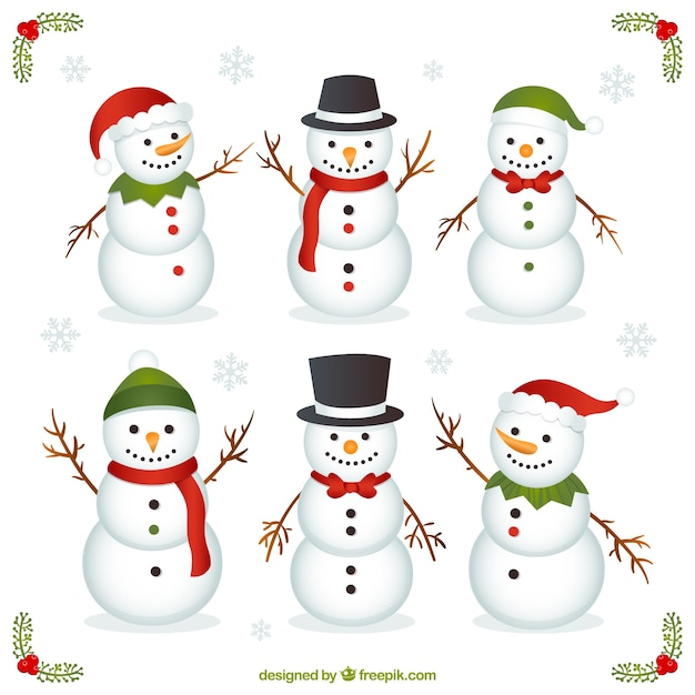 Variety of funny snowman Premium Vector