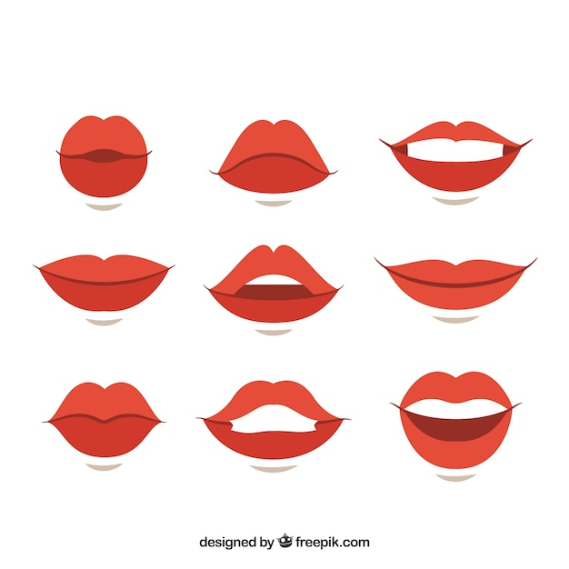 Variety of gestures with female lips Free Vector