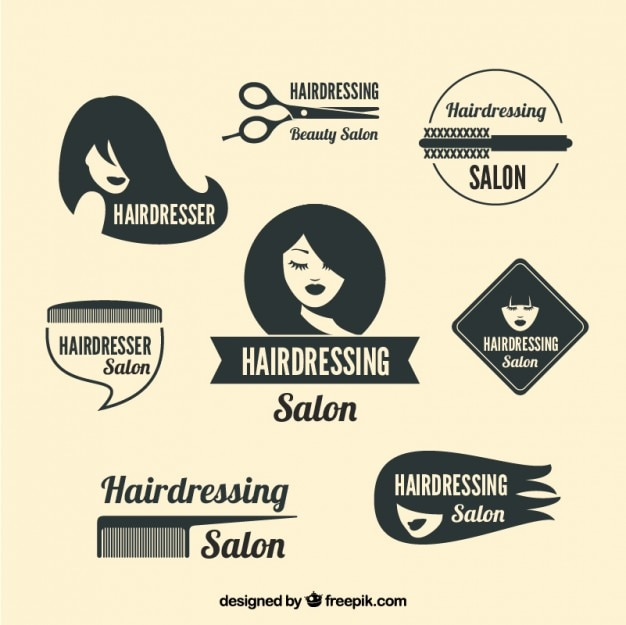 Variety of hairdressing logos Free Vector