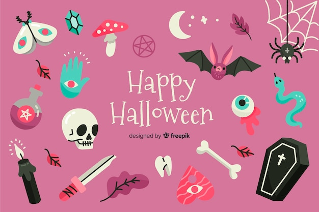 Variety of halloween decorations background Free Vector