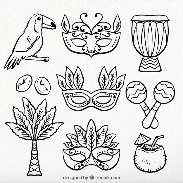 Variety of hand drawn brazilian carnival elements Free Vector