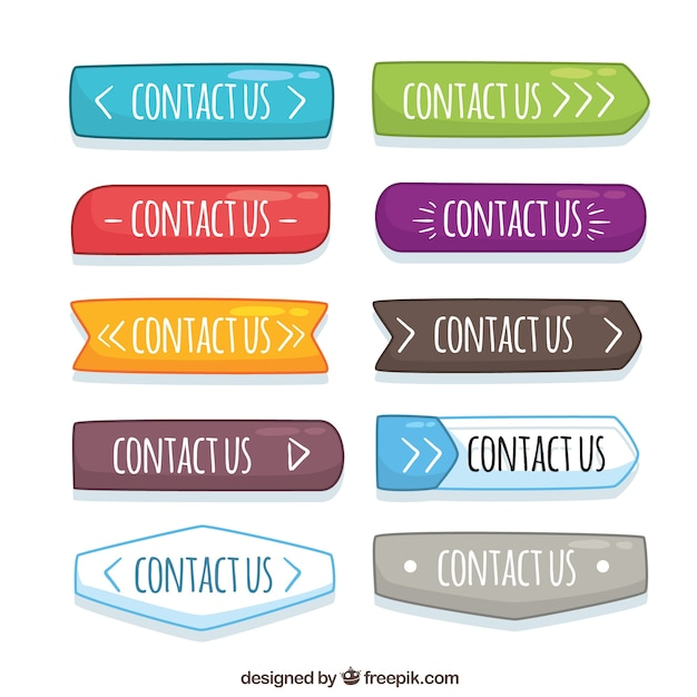 Variety of hand drawn colored buttons Free Vector