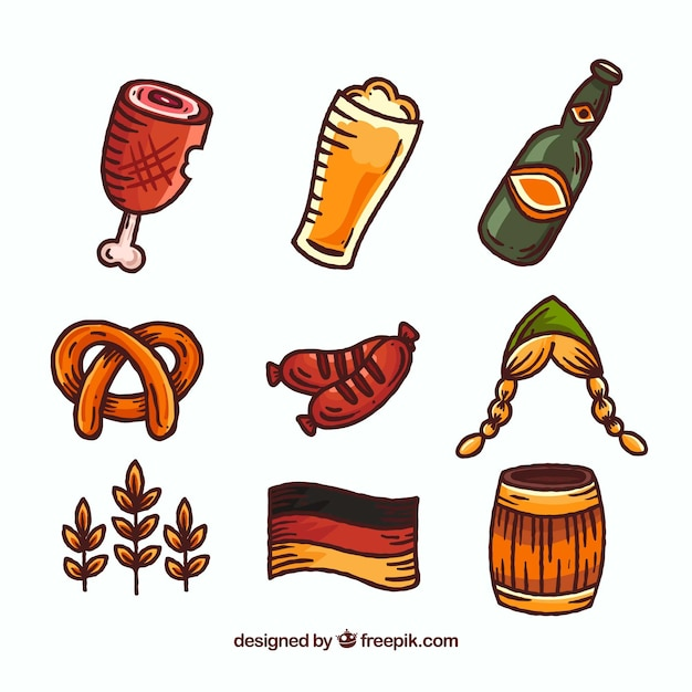 Variety of hand drawn german elements Free Vector