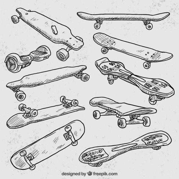 Variety of hand drawn longboard Free Vector