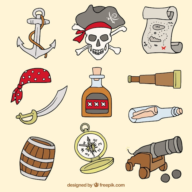 Variety of hand-drawn pirate elements Free Vector
