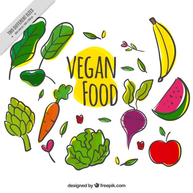 Variety of hand drawn vegan food background Free Vector