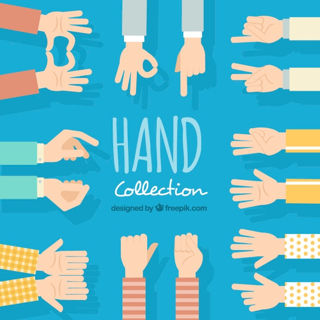 Variety of hands in flat design Premium Vector