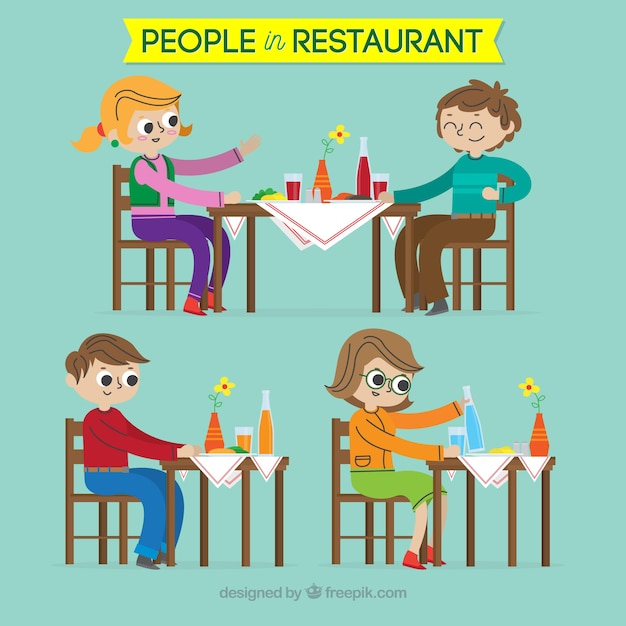 Variety of happy people in the resturant Free Vector