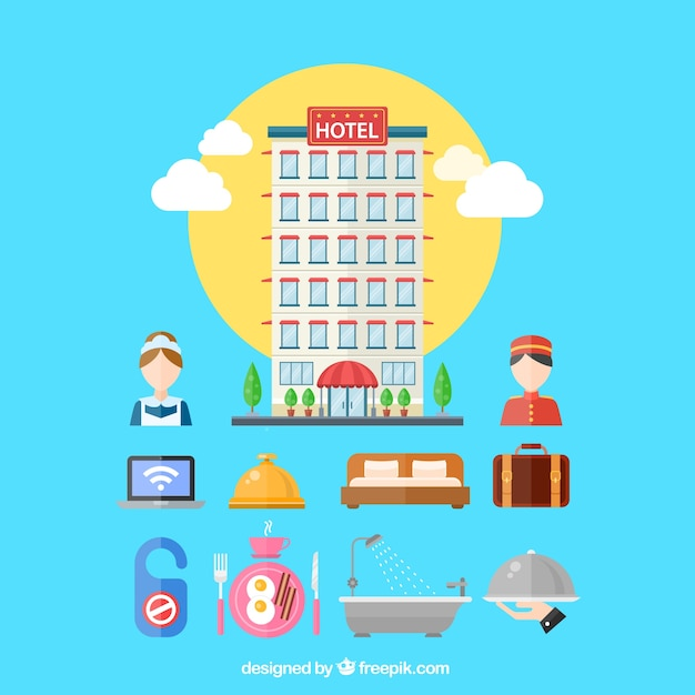 Variety of hotel elements Free Vector