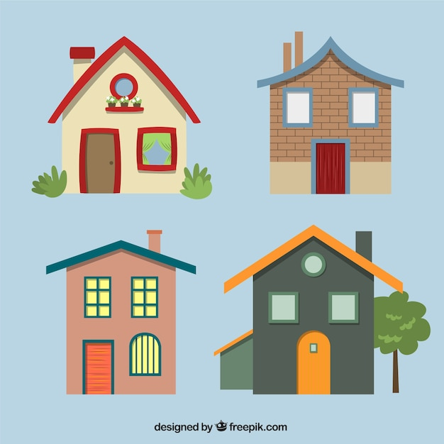 Variety of house facades Free Vector