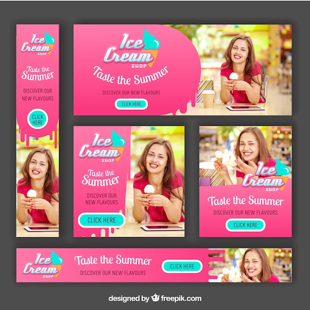 Variety of ice cream banners Free Vector