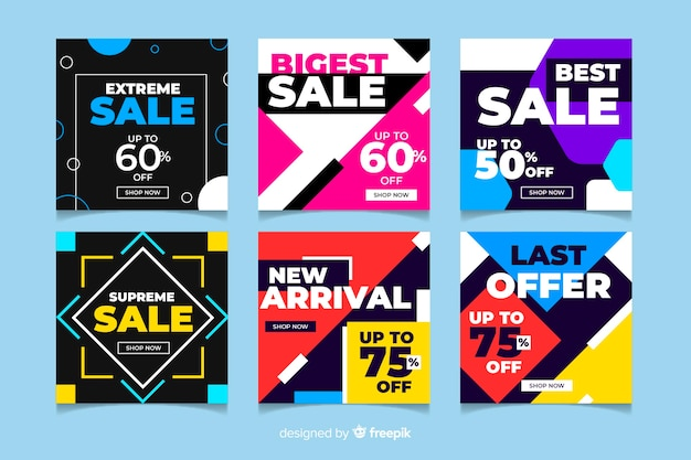 Variety of instagram sale post collection Free Vector