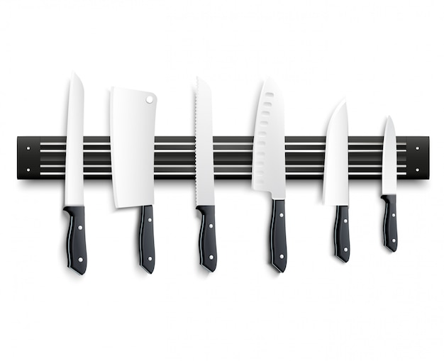 Variety of kitchen knives with black handle on magnetic strip on white background 3d vector illustration Free Vector