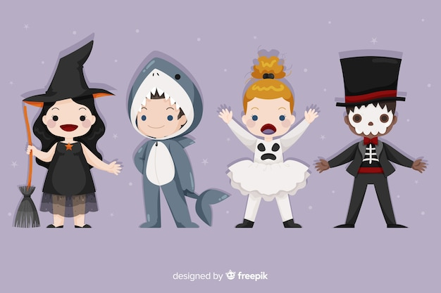 Variety of known halloween costumes for kids Free Vector