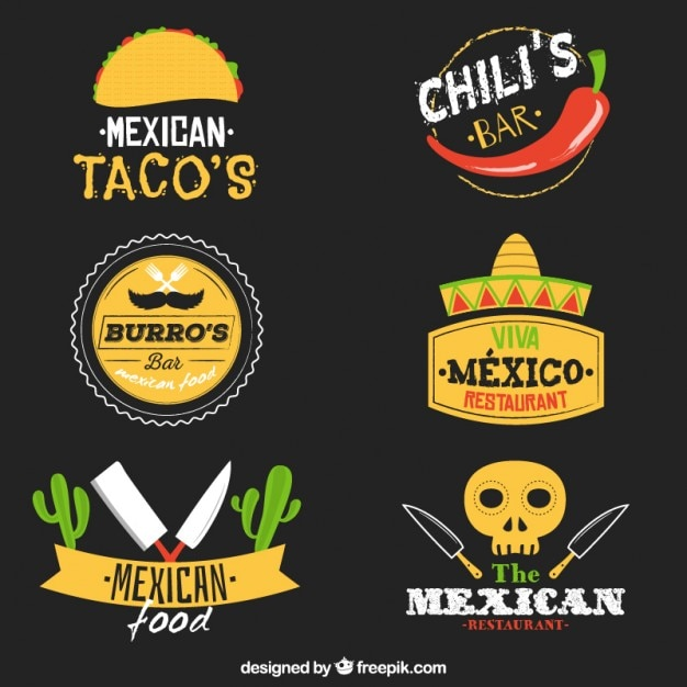 Variety of mexican food logos Premium Vector