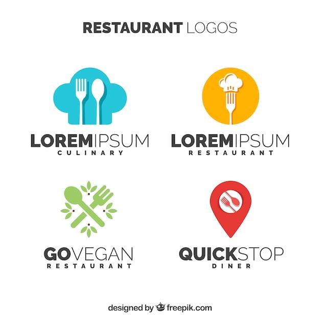Variety of modern restaurant logos Free Vector